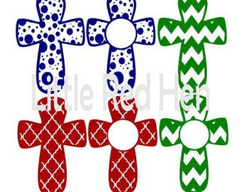 Whimsical Cross Set, Circles/Polka Dots, Quarterfoil, and Chevron with Monogram frame