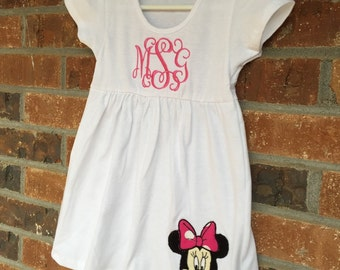 Infant Monogram Dress, Choice of Applique included on the bottom hem of the dress. Great for the Beach, Summer, or Easter!