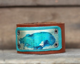 Blue Fire Hair Profile Antique German Writing Reclaimed Leather Cuff