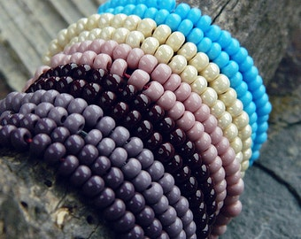 Blue Plum Ivory 6/0 Seed Beads Mix, Czech Rocailles, opaque seed beads, Rocaille seed bead mix,  4mm (60g)