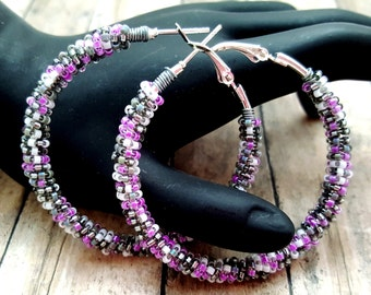 Purple Hoop Earrings - Beaded Hoop Earrings - Gray Hoop Earrings - Wire Wrapped Earrings - Gift for Friends Women - Large Hoop Earrings