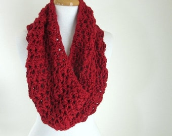 ON SALE Chunky Red Cowl - Hand Knit - Crochet Scarf - Poncho - Infinity Scarf - Cranberry Scarf