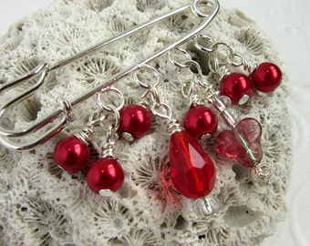 Red Shawl Pin - Sweater Pin - Scarf Brooch - Red Pearl Brooch - Beaded Brooch