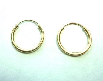 Gold Hoop Earrings Solid 14k Gold Hoop Earrings Small Starter hoops or Child Hoops 14mm Diameter14k Pierced Hoop Earrings Child Earrings