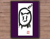Pig, Year of the Pig, Chinese Zodiac, Original Zen Art Sumi Ink Painting, zen japanese illustration, zen decor, childrens room, nursery, tao
