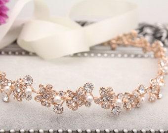 Wedding hair accessories,Wedding headband,Rose gold Bridal headband,Wedding hair vine,Bridal hair piece,Wedding headpiece,Bridal hair piece