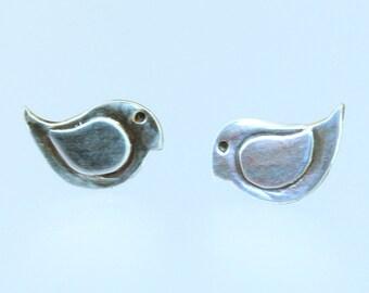 Silver bird post earrings - bird earrings - baby birds - silver birds - bird jewelry - post earrings - silver bird earrings - bird lovers