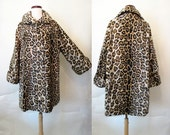 "Yummy 1950's Designer Faux Leopard Print Swing Coat by ""Tevis Togs"" Rockabilly VLV Pinup Girl Vixen Size-Medium"