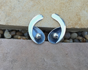 Vintage Modernist Taxco Sterling Mexican Sterling Screw Backs by Melicio Rodriguez