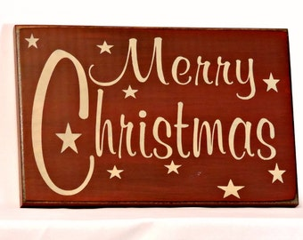Merry Christmas - Painted Wood Christmas Wall Sign, Holiday Decor, Christmas Sign, Christmas Decor, Holiday sign