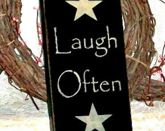 Live Well Laugh Often Love Much Vertical Sign- Primitive Country Painted Wall Sign,family sign, room decor, live love laugh, primitive decor