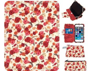 floral Red Paperwhite Kindle Paperwhite Case Paperwhite cover Paperwhite stand Paperwhite ereader paperwhite folio Paperwhite
