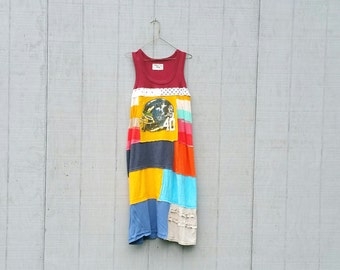 Football Upcycled Summer Tunics funky wearable Art beach knit recycled tunic plus size clothing by CreoleSha