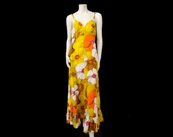"Vintage 60s Kamehameha Maxi Length Dress 36"" Bust Sleeveless Style Big Bold Flowers Cotton Barkcloth"
