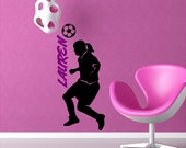 Custom Personalized Girl Soccer Player Wall Decal Removable Soccer Wall Sticker Item #2