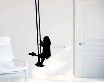 Child Teeter Totter Wall Decal Removable Swingset Wall Sticker