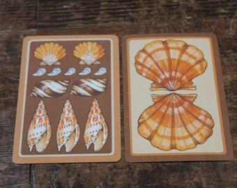 Vintage Playing Cards Retro SHELLS cute mid-century nature Beach paper ephemera shades of gold brown yellow rust scrapbook supplies 8 pcs