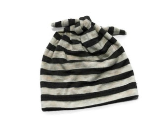 Striped Baby Hat | Modern Top Knot Baby Cap | Pull-On Newborn Baby Hat |  Super Soft Infant Hat | Gray and Oatmeal Stripe Stretchy Baby Hat