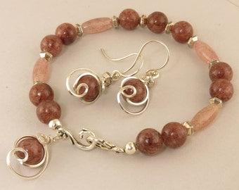 Wine Red Beaded Single Strand Bracelet Gift Set, Unique Bracelet Semi Precious Silver Gift Set