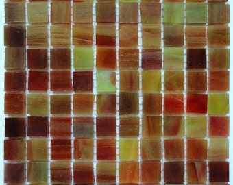 """100 Rust and Green 1/2"""" Stained Glass Mosaic Tiles//Mosaic//Mosaic Supplies//Mosaic Pieces"""