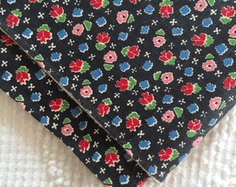 Vintage 1940's Cute Tiny Print Quilting Cotton Fabric Flowers on Black