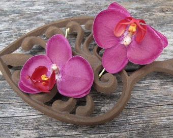 Hawaiian  WINE Orchids SET OF 2 bobby pin flowers-hair clips - Weddings -