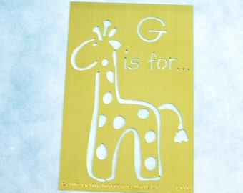 Brass Stencil / Giraffe / 2006 Lasting Impressions / Dry Stylus Embossing / Crafting Supply / Scrapbooking, Cards, Altered Art, Baking