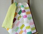 Modern Baby Quilt, Toddler Quilt, Crib Quilt, Baby Girl Quilt, Modern Bricks