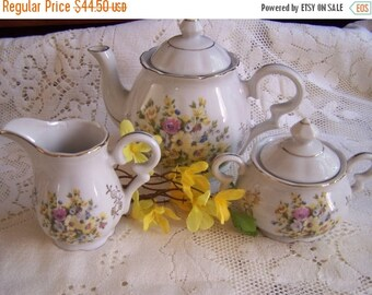 SALE Vintage Porcelain Teapot, Cream, Sugar, China Tea Set, Japan Tea Party, Cottage Chic, Shabby Decor