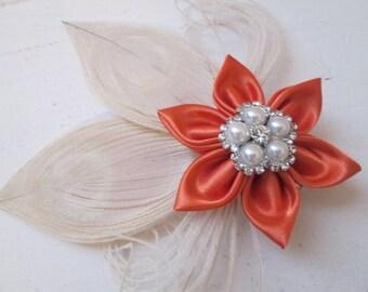 Burnt Orange Wedding Fascinator, Bridesmaid, Prom or Homecoming Hair Clip, Pumpkin Orange & Cream Bridal Head Piece, Rustic Country Bride