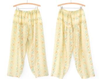 Vintage Harem Pants * Jodhpur Pajama Pants * Vintage Floral Trousers * Large - XL
