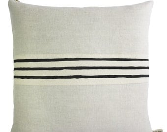 Linen and Black hand drawn band trim, 3 lines