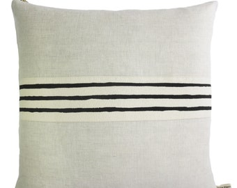 Linen pillow with Black hand drawn band trim, 3 lines, down insert included, available in 10x20 or 20x20