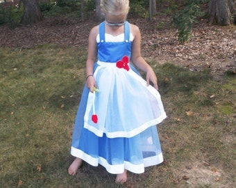 Belle Tutu Dress: Peasant Belle, Princess Party, Costume, Princess Dinner, adjustable, beauty & the beast, blue and white, red rose