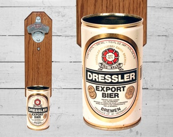 Dressler Wall Mounted Bottle Opener with Vintage German Beer Can Cap Catcher - Groomsmen Gift