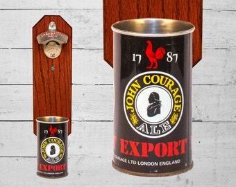 Courage Lager Wall Mounted Bottle Opener with Vintage Beer Can Cap Catcher -  Gift for Groomsmen