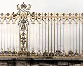Versailles Photo, Gold, Gray, Beige, Versailles Fence, Baroque Architecture, Neutral, Paris Photography, Wall Art