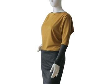 Long Sleeve Dress / Grey Dress /Day Dress / Custom dress with pockets / Jersey dress / Womens clothing / Custom made dress / Plus Size Dress