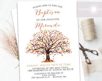 Baptism Invitation, LDS Baptism Invite, Fall Baptism, Autumn Baptism, Tree Invitation, Printable, Orange, Brown, Confirmation, jadorepaperie