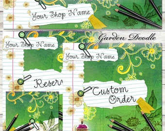 "New Sizes! Etsy Shop Set ""Garden Doodles"" One-of-a-kind Images - green, yellow, sketch, draw, notebook, flowers, illustrate, paper, school"