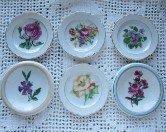 Vintage Flower Coasters Bone China Set of 6 Colorful & Pretty Japan and England