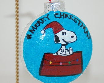 Hand Painted Snoopy on His House for Christmas Ornament