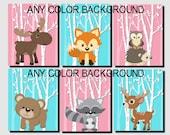 Baby Girl Nursery, Pink Aqua Nursery Art, Woodland Nursery Wall Decor, Forest Animal,Kids Wall Art,Fox,Deer,Moose, Set of 6 Prints or Canvas