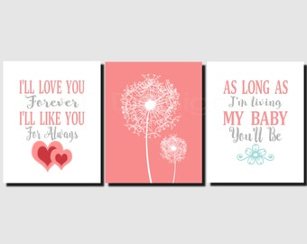 Baby Girl Nursery Art, Coral Gray Aqua, Dandelion, Kids Wall Art, I'll Love You Forever, Toddlers, Girls, Set of 3 Prints or Canvas