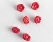 Vintage Glass Flower Buttons, 1930s Novelty Czech Glass Buttons, Red Flowers, Set of 6, Craft Sewing Supplies, Buttons & Fasteners