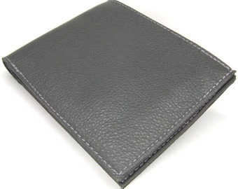 Grey leather wallet with six card slots and notes pocket
