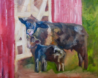 11 x 14 Modern Impressionist Original Oil Painting of Cow & Calf Landscape by Rebecca Croft