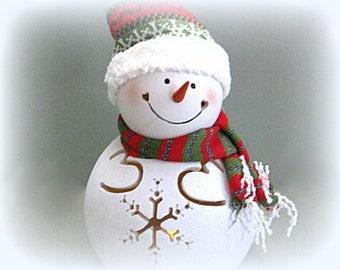 Christmas Snowman Decor Holiday Snowman Decoration Xmas Snowman Light Frosty the Snowman Figurine Ceramic Snowman Tealight Christmasinjuly