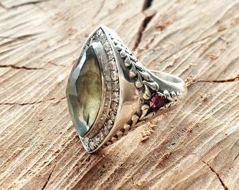 Exotic Marquise Gemstone Statement Ring Sterling Silver with Labradorite, Swarovski Crystals, and Rhodolite Garnet
