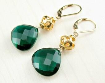 Emerald Green Earrings, Emerald Green Quartz Earrings, Emerald Green Gold Earrings, Green Leverback Earrings, Green Gemstone Jewelry, Dangle